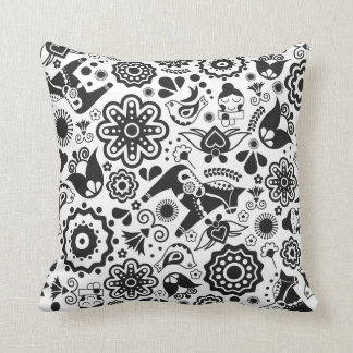 Monochrome Scandinavian folk art Throw Pillow