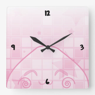 Monochrome Shyness! Square Wall Clock