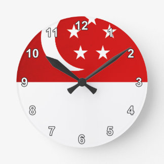 Monochrome Singapore Flag Wall Clock