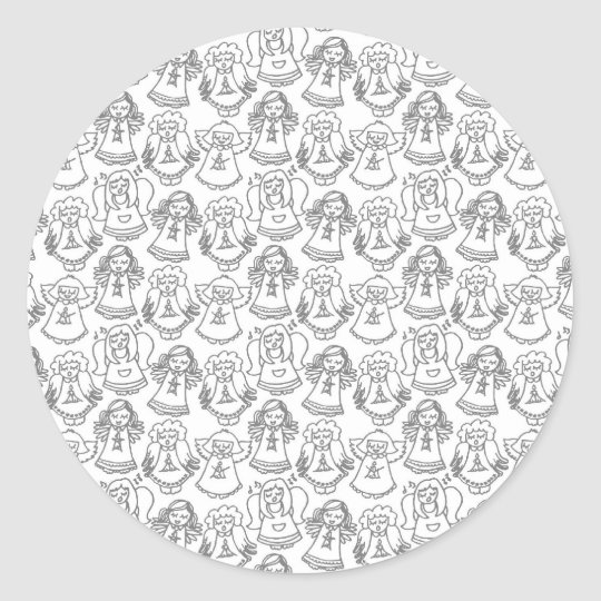 monochrome singing angels on white background classic round sticker