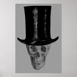 Monochrome Skull Top Hat Poster