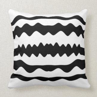 Monochrome 'Soundwaves' Pattern Minimalist Design Throw Pillow