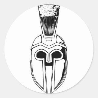 Monochrome Spartan helmet illustration Classic Round Sticker