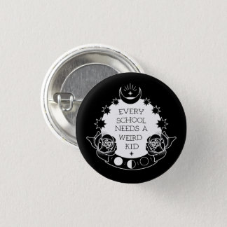Monochrome Tattoo Style Slogan Goth Pin Badge