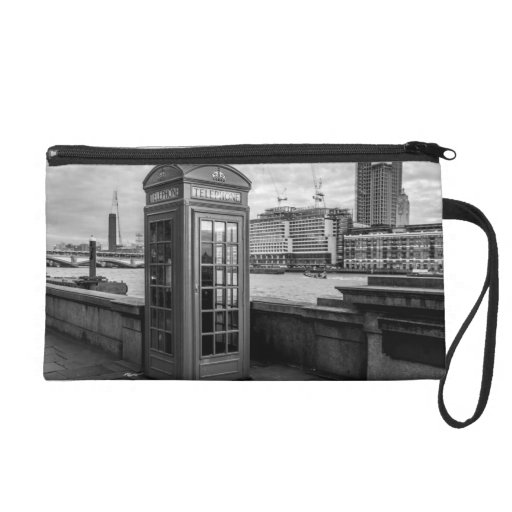 Monochrome Telephone Booth London Wristlet Clutches