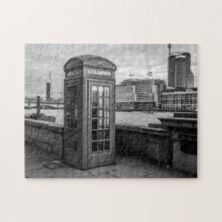 Monochrome Telephone Booth London Jigsaw Puzzle