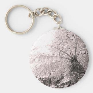 Monochrome Tree Fern Basic Round Button Keychain