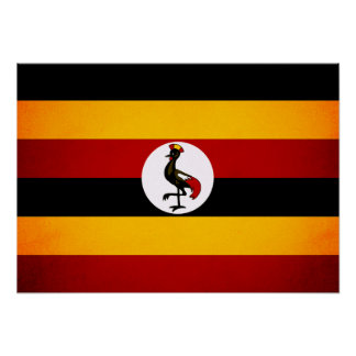 Monochrome Uganda Flag Poster