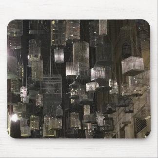 Monochrome urban birdcage mouse pad