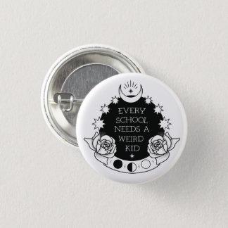 Monochrome Weird Kid Slogan Goth Pin Badge