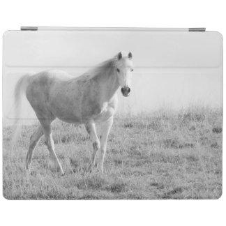 Monochrome white horse iPad cover