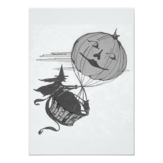 Monochrome Witch Air Balloon Jack O Lantern Card