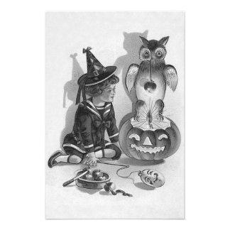 Monochrome Witch Owl Jack O Lantern Art Photo