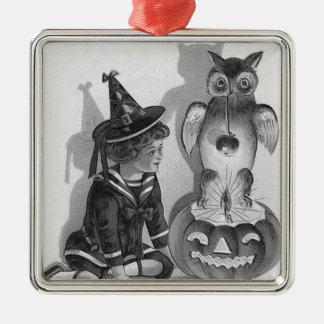 Monochrome Witch Owl Jack O Lantern Silver-Colored Square Ornament