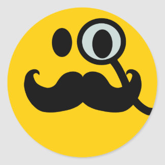 Monocle & Mustache Smiley (Customizable backgrnd) Classic Round Sticker