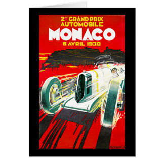 Monoco Grand Prix Vintage Travel Advertisement Card