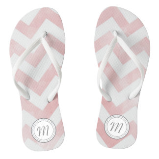 Monogoram Pink Watercolor Chevron Flip Flops