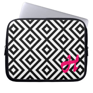 MonograBlack and white chevron pattern laptop case