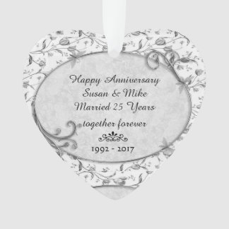 Monogram 25th Wedding Anniversar Keepsake Ornament