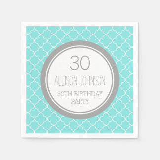 Monogram 30th Birthday Napkin Aqua Quatrefoil