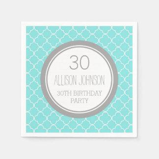 Monogram 30th Birthday Napkin Aqua Quatrefoil Paper Napkin