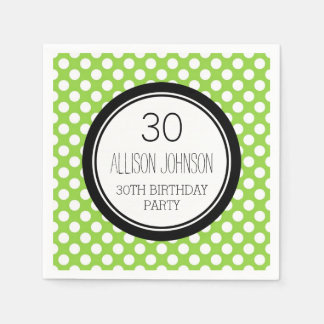 Monogram 30th Birthday Napkin Lime Dots