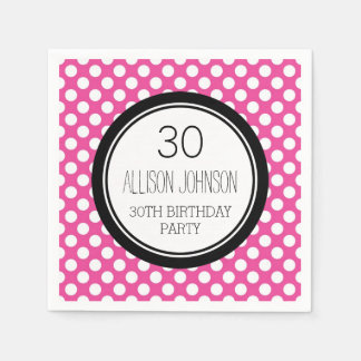 Monogram 30th Birthday Napkin Pink Dots Paper Napkin