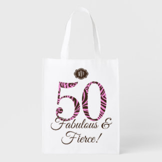 Monogram 50th Birthday Fabulous & Fierce Swag Market Totes