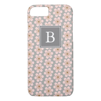 Monogram 6 petal cherry blossom Gray and pink iPhone 7 Case