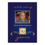 Monogram 80th Birthday Invitations with Photo
