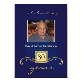 Monogram 80th Birthday Invitations with Photo