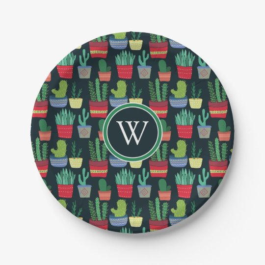Monogram | A Crowd of Cactus 7 Inch Paper Plate