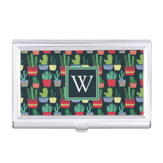 Monogram | A Crowd of Cactus Business Card Holder