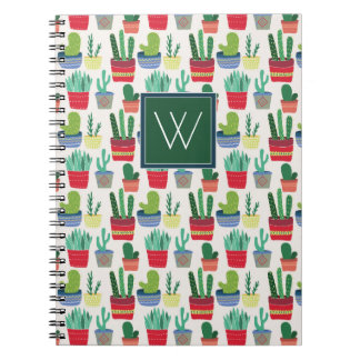 Monogram | A Crowd of Cactus Spiral Notebook