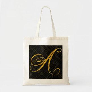 Monogram A Faux Gold Foil Metallic Letter Design Tote Bag