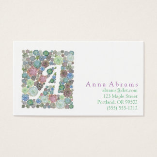 Monogram A Initial succulents business card