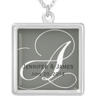 Monogram A Names Date Grey Wedding Necklaces
