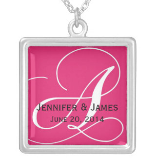Monogram A Names Date Pink Wedding Necklaces
