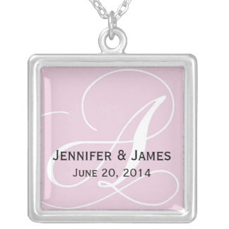 Monogram A Names Date Rose Pink Wedding Necklaces