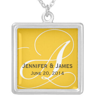 Monogram A Names Date Yellow Wedding Necklaces