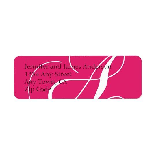 Monogram A Return Address Labels Hot Pink