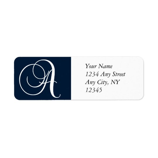 Monogram A Return Address Labels Navy Blue
