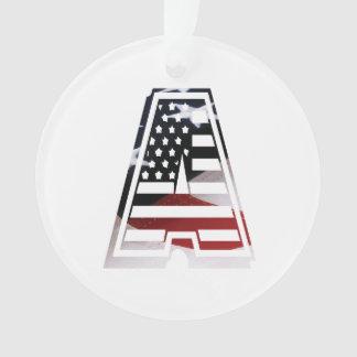Monogram A USA Flag American Initial Ornament