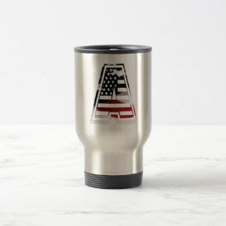 Monogram A USA Flag American Initial Travel Mug