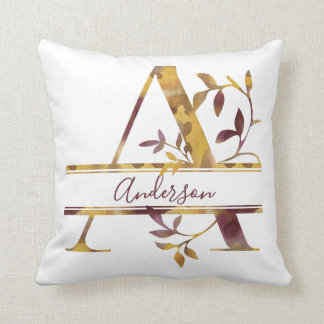 Monogram A - Watercolor - Personalized Throw Pillow