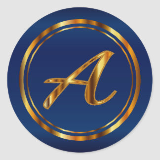 Monogram  A-Z - Metallic Gold on Navy Blue Classic Round Sticker