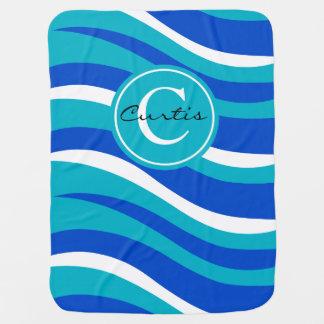 Monogram Abstract Tiger Animal Print blue aqua Baby Blankets
