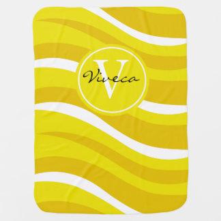 Monogram Abstract Tiger Animal Print lemon mustard Baby Blankets