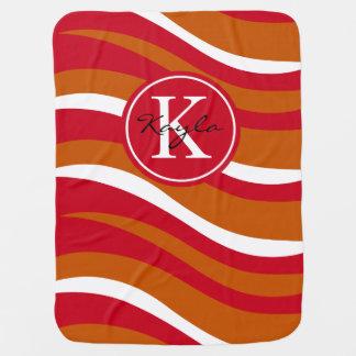 Monogram Abstract Tiger Animal Print tangerine red Stroller Blankets