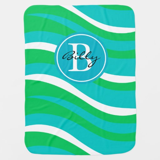 Monogram Abstract Tiger Animal Print | teal green Swaddle Blankets